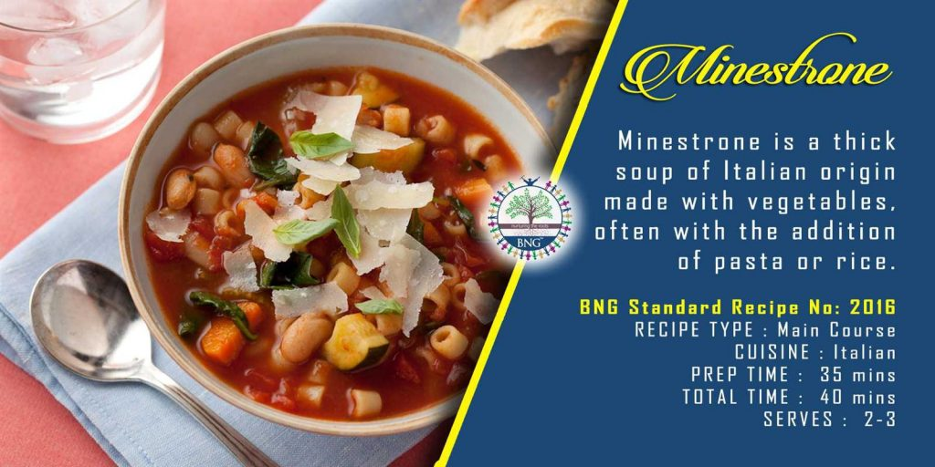 Minestrone soup recipe and step by step methods by BNG Hotel Management Kolkata