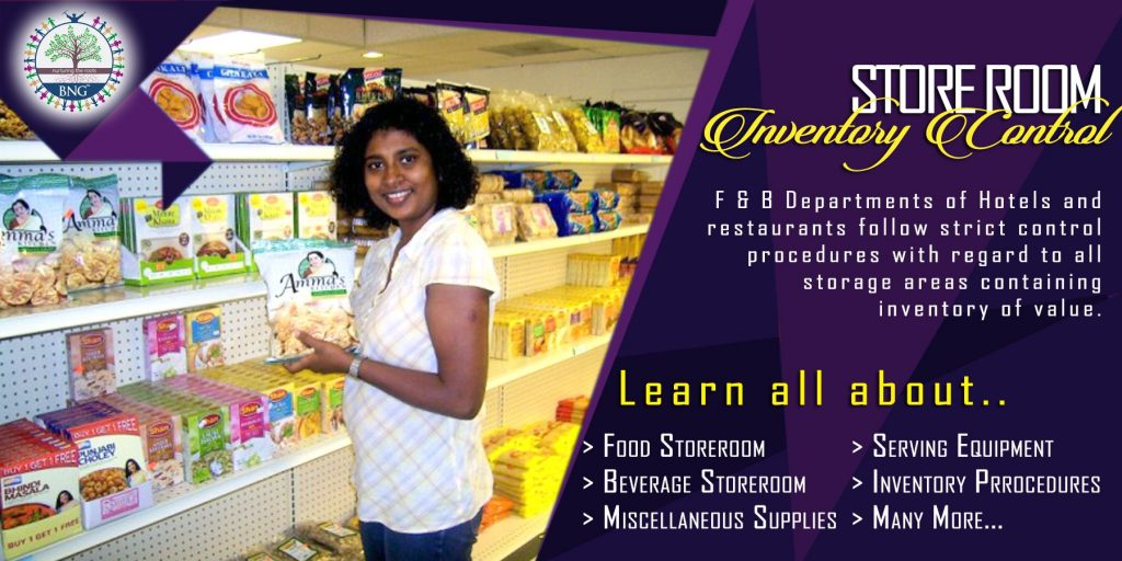 Inventory Control of Food & Beverage Service Store Room by BNG Hotel Management Kolkata