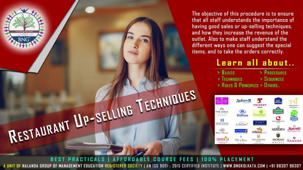 Restaurant Up-selling Techniques by BNG Hotel Management Kolkata