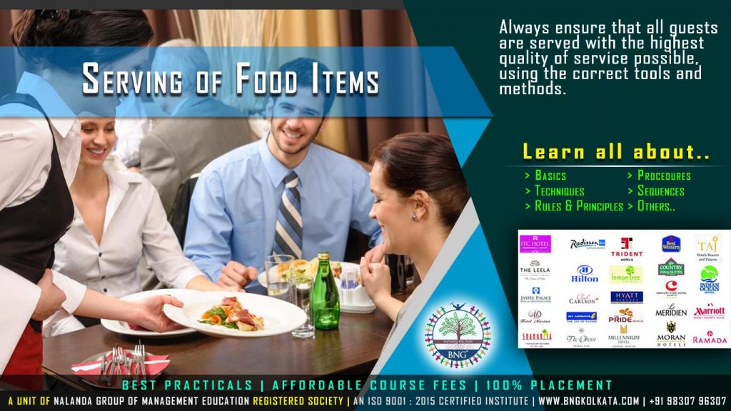 Serving of Food Items by BNG Hotel Management Kolkata